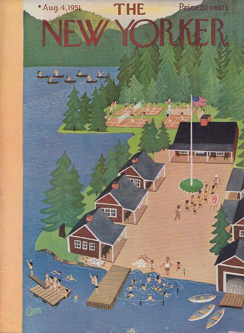 Image for New Yorker cover Charles E Martin summer camp for boys 8/4 1951