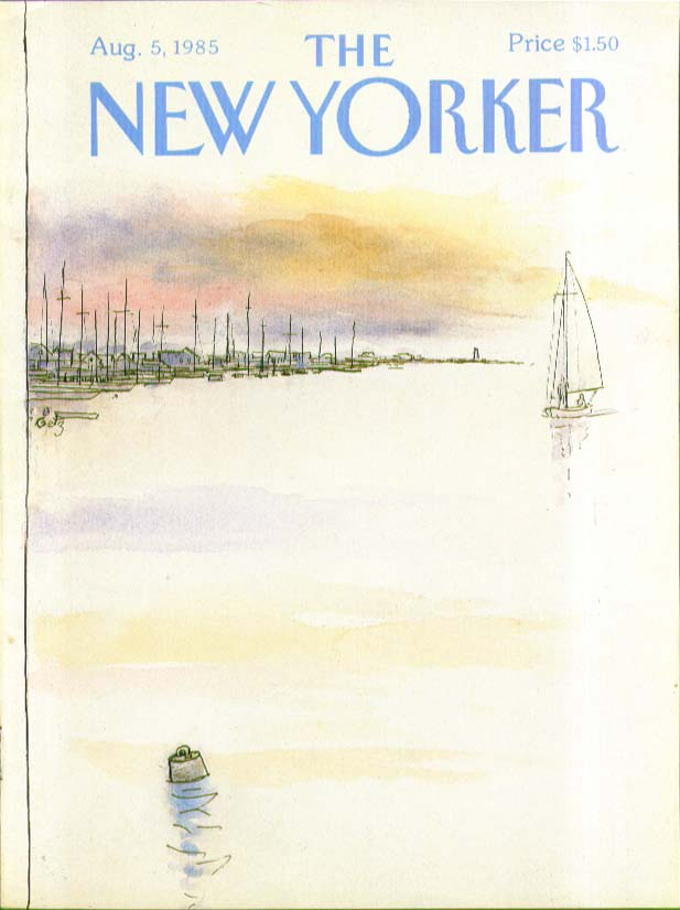 Image for New Yorker cover Getz skiff returns at sunset 8/5 1985