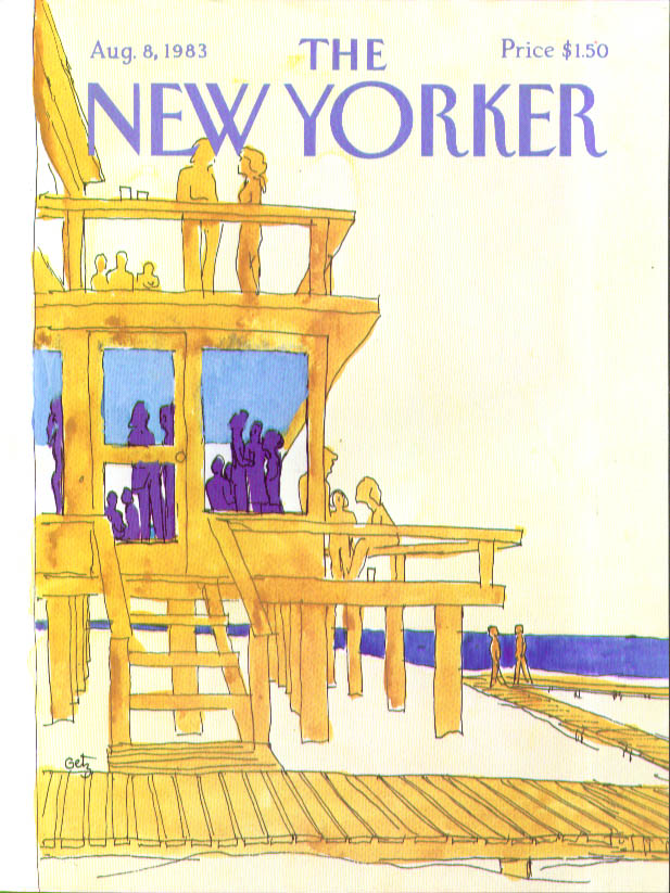 Image for New Yorker cover Getz cocktail party at modern beach house 8/8 1983