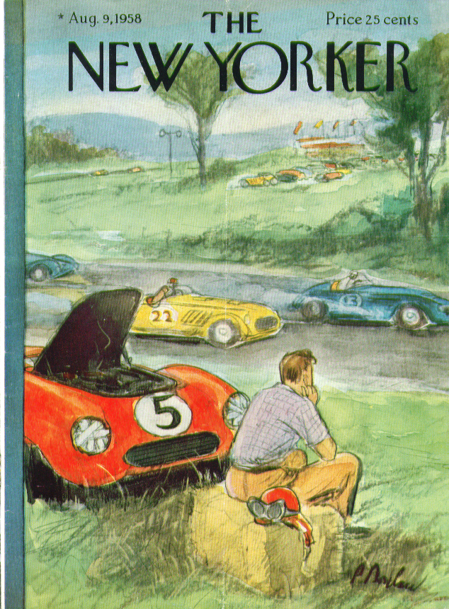 Image for New Yorker cover Barlow sportscar racer 8/9 1958