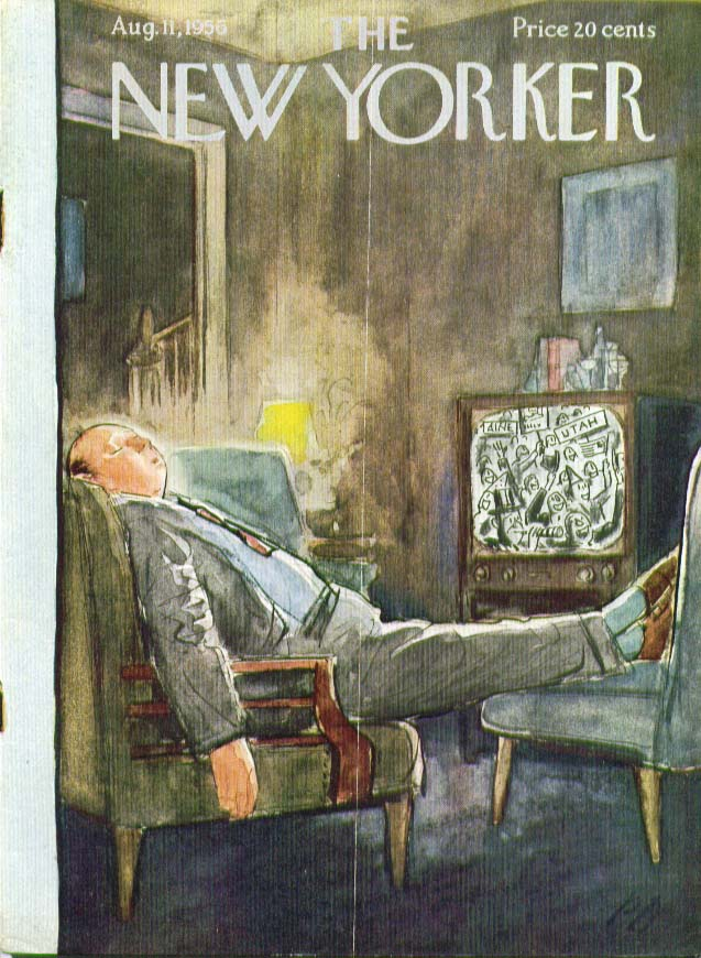 Image for New Yorker cover Barlow asleep in front of TV 8/11 1956