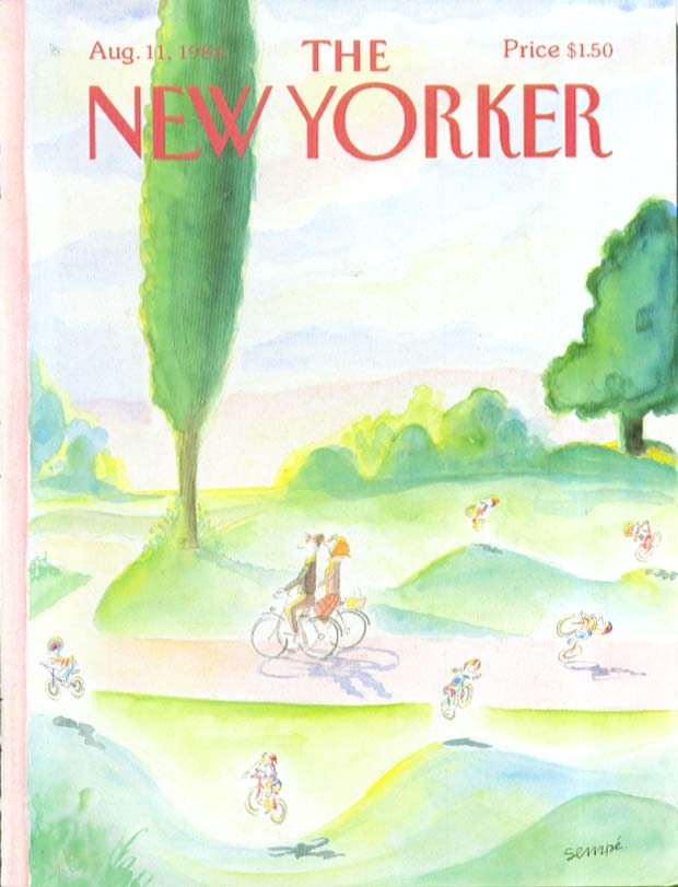 Image for New Yorker cover Sempe old & young bicyclists 8/11 1986