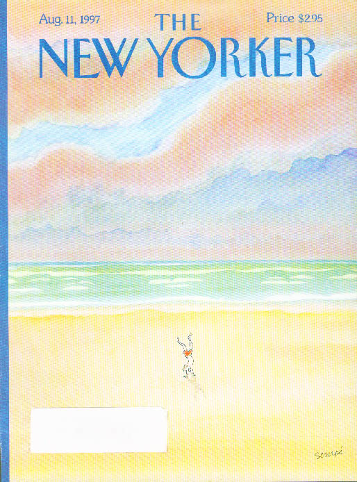 Image for New Yorker cover Sempe solo beach handstand 8/11 1997
