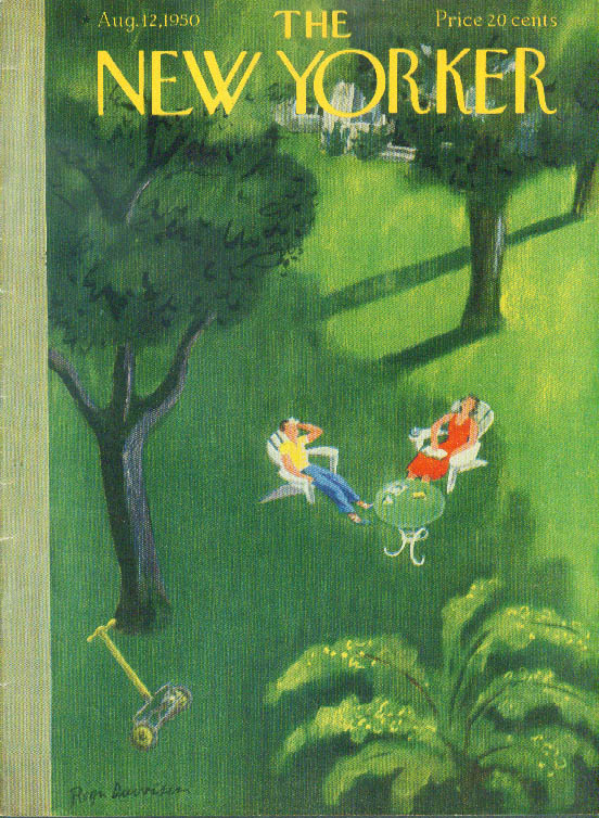 Image for New Yorker cover Duvoisin couple resting in shade 8/12 1950