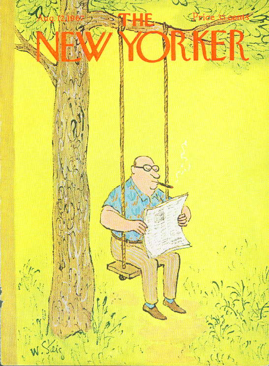 Image for New Yorker cover Steig cigar smoker in swing 8/12 1967