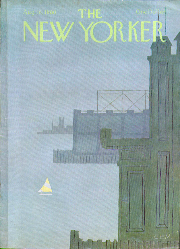 Image for New Yorker cover Martin sailboat in grey 8/18 1980