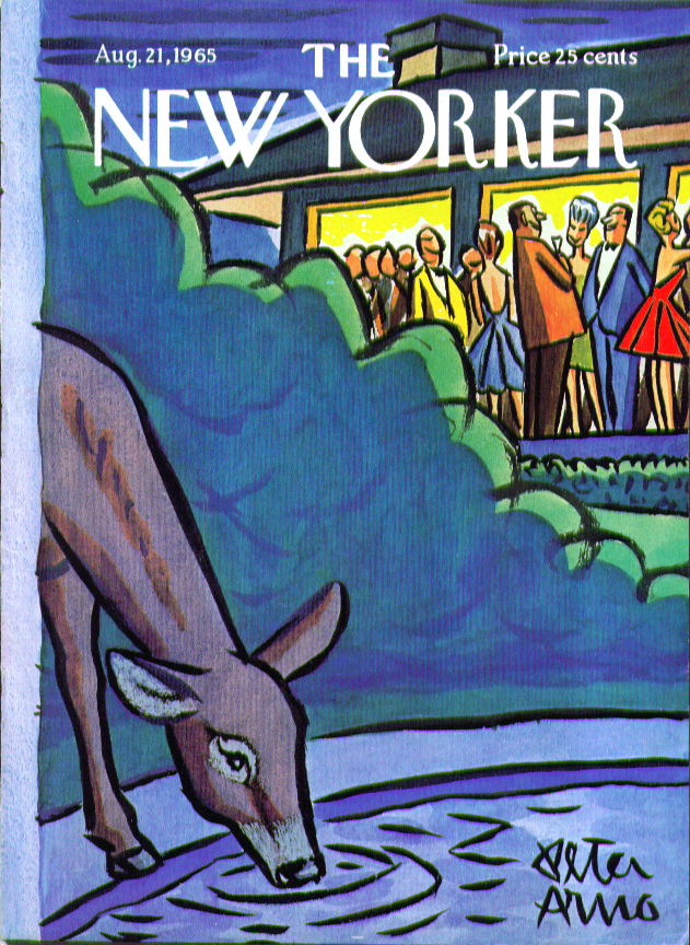 Image for New Yorker cover Arno deer drinks from pool 8/21 1965