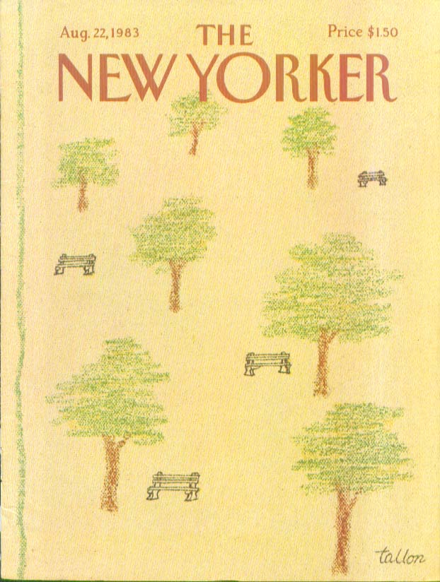 Image for New Yorker cover Tallon benches and trees 8/22 1983