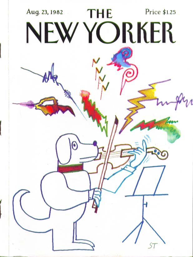 Image for New Yorker cover Steinberg dog violinist 8/23 1982