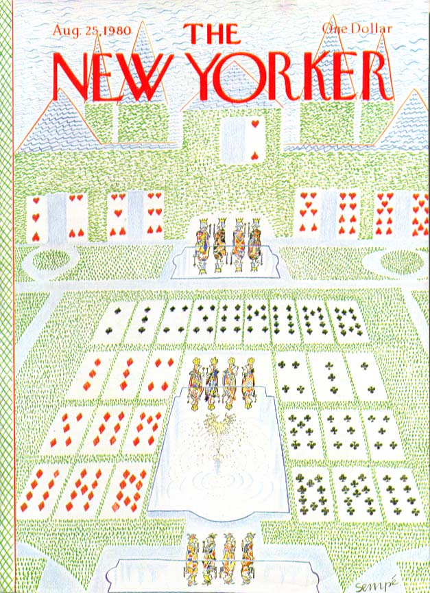 Image for New Yorker cover Sempe formal garden laid out 8/25 1980