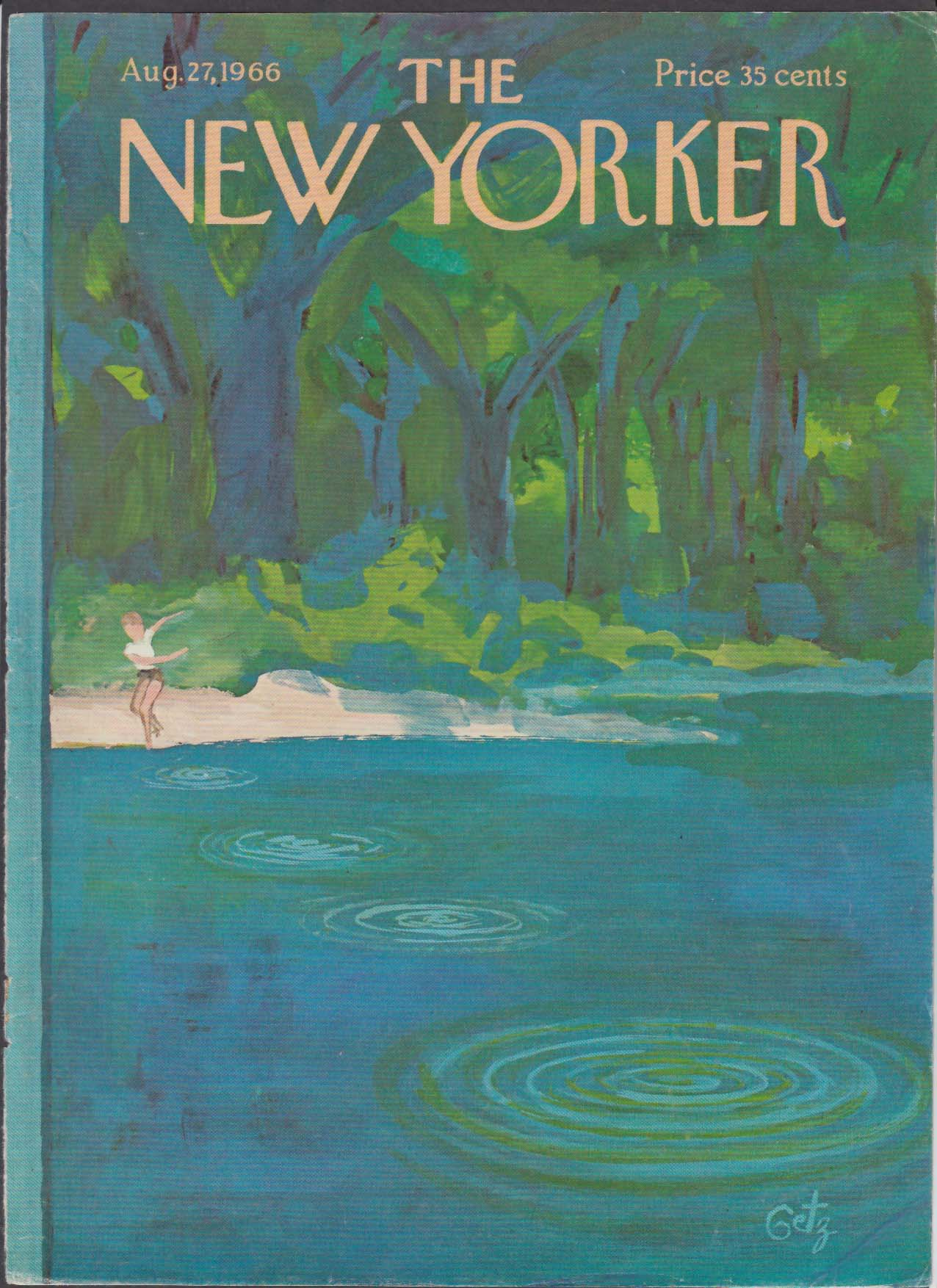 Image for New Yorker cover Getz child skipping a rock on pond in woods 8/27 1966