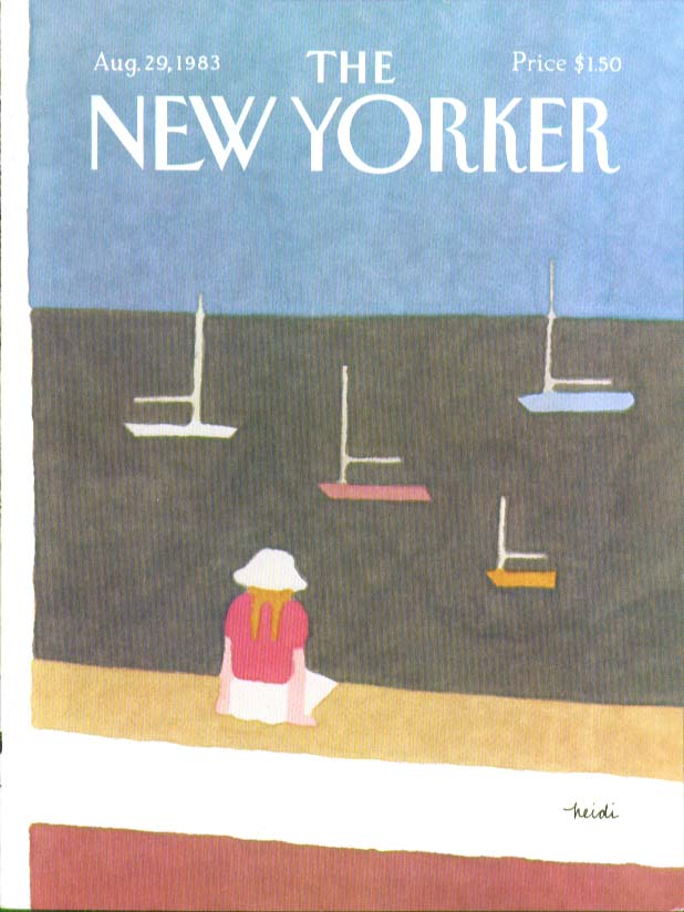 Image for New Yorker cover Goennel girl dock watching 8/29 1983