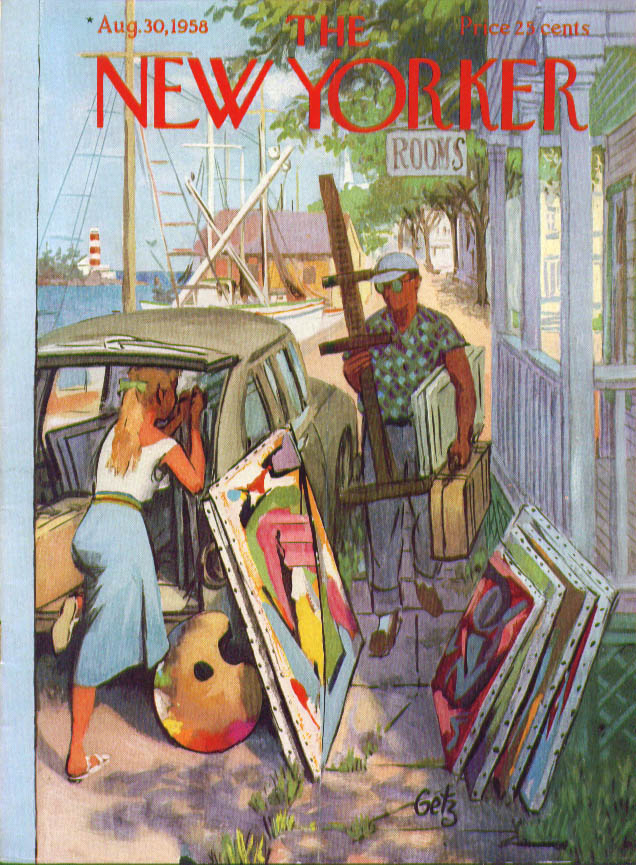 Image for New Yorker cover Getz artists load wagon 8/30 1958