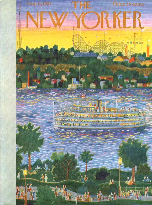 Image for New Yorker cover Karasz riverboat passes fair 8/31 1957