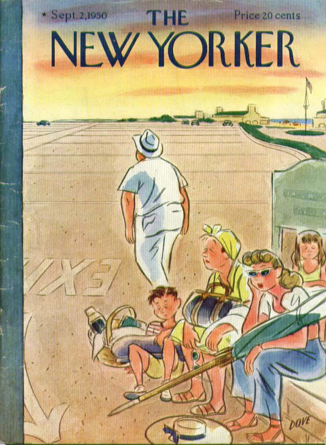 Image for New Yorker cover Dove empty beach parking lot 9/2 1950