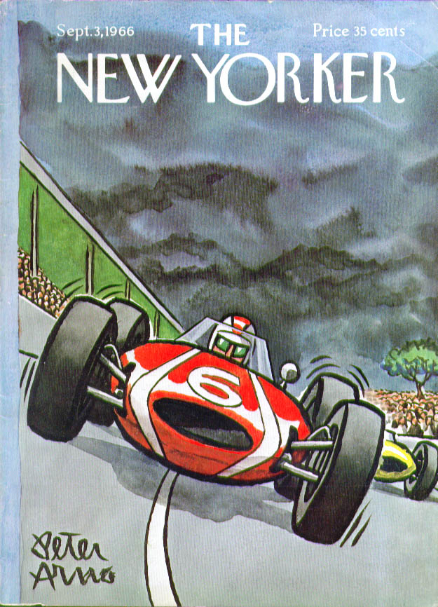Image for New Yorker cover Arno racecar storm clouds 9/3 1966