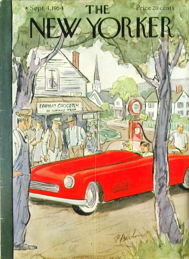 Image for New Yorker cover Barlow red sports car 9/4 1954