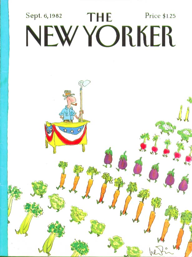 Image for New Yorker cover Levin vegetables marching 9/6 1982