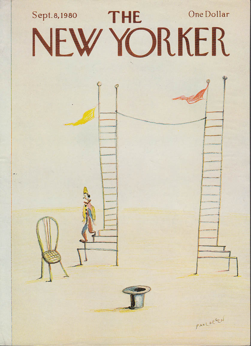 Image for New Yorker cover Degen circus clown high wire 9/8 1980