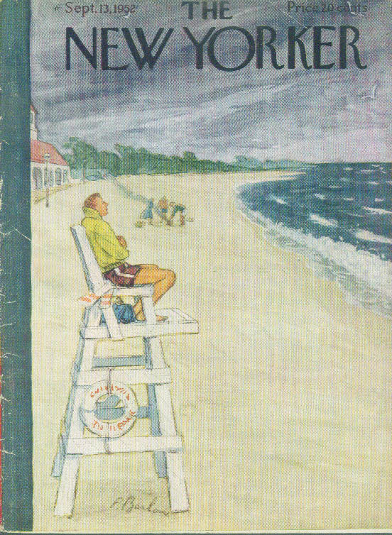 Image for New Yorker cover Barlow chilly lifeguard 9/13 1952