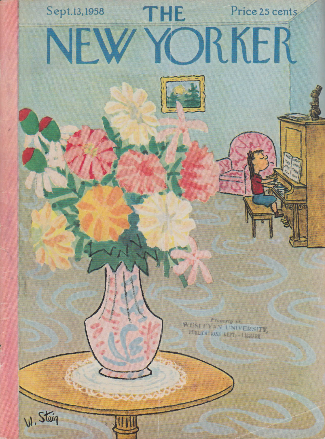 Image for New Yorker cover Steig girl at piano bouquet 9/13 1958