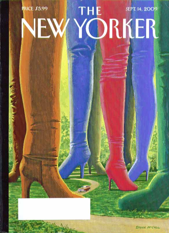 Image for New Yorker cover Bruce McCall 1950 Nash thru forest of colored boots 9/14 2009