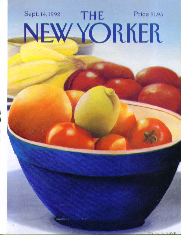 Image for New Yorker cover Simpson fruitbowl 9/14 1992