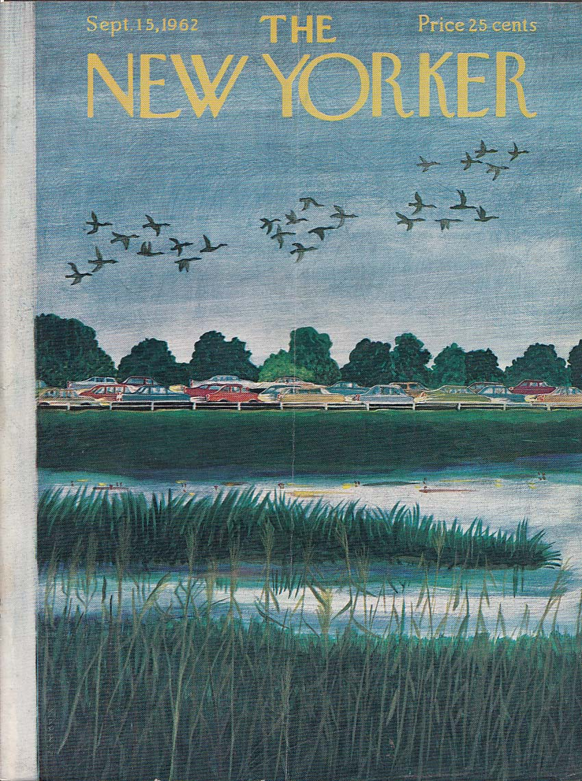 Image for New Yorker cover Karasz geese over traffic 9/15 1962