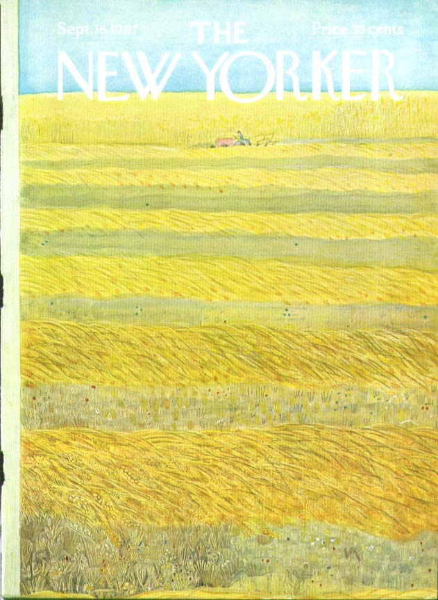 Image for New Yorker cover Karasz farmer in hayfield 9/16 1967