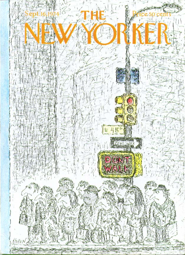 Image for New Yorker cover Koren frowning pedestrians 9/16 1974
