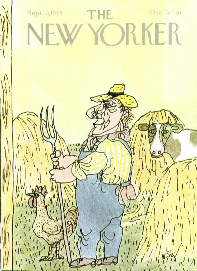 Image for New Yorker cover Steig farmer cow chicken hay 9/18 1978