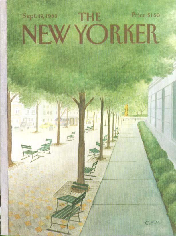 Image for New Yorker cover Martin empty park benches 9/19 1983
