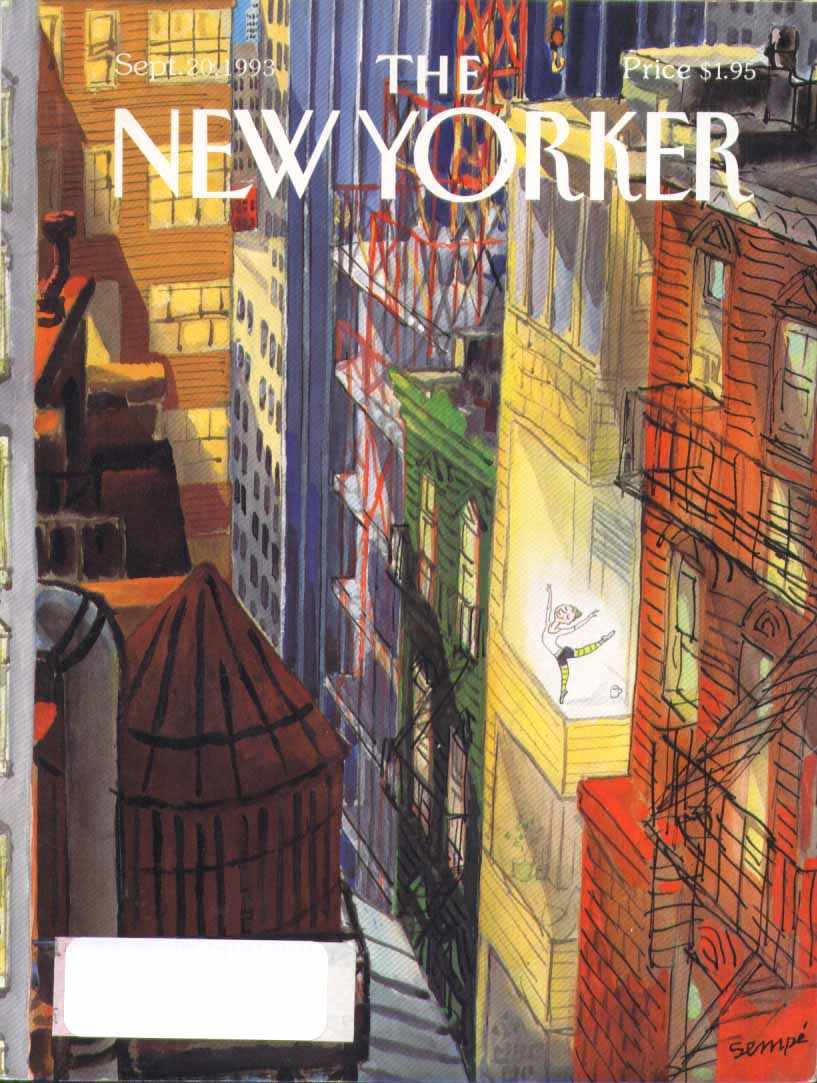 Image for New Yorker cover Sempe urban window dancer 9/20 1993