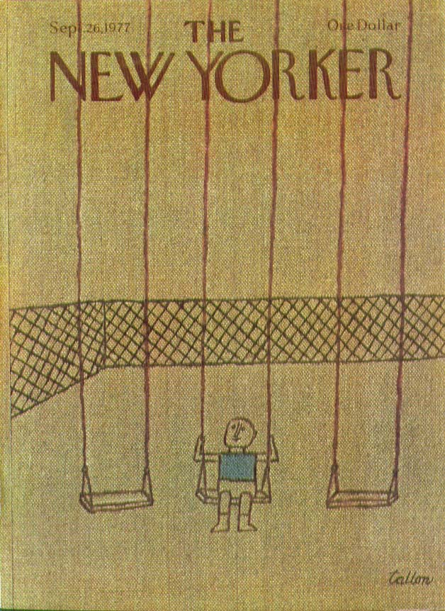 Image for New Yorker cover Tallon boy on swing 9/26 1977