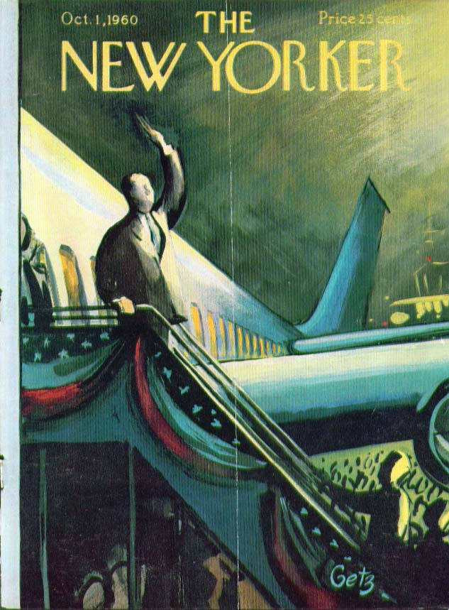 Image for New Yorker cover Getz politician waving plane 10/1 1960