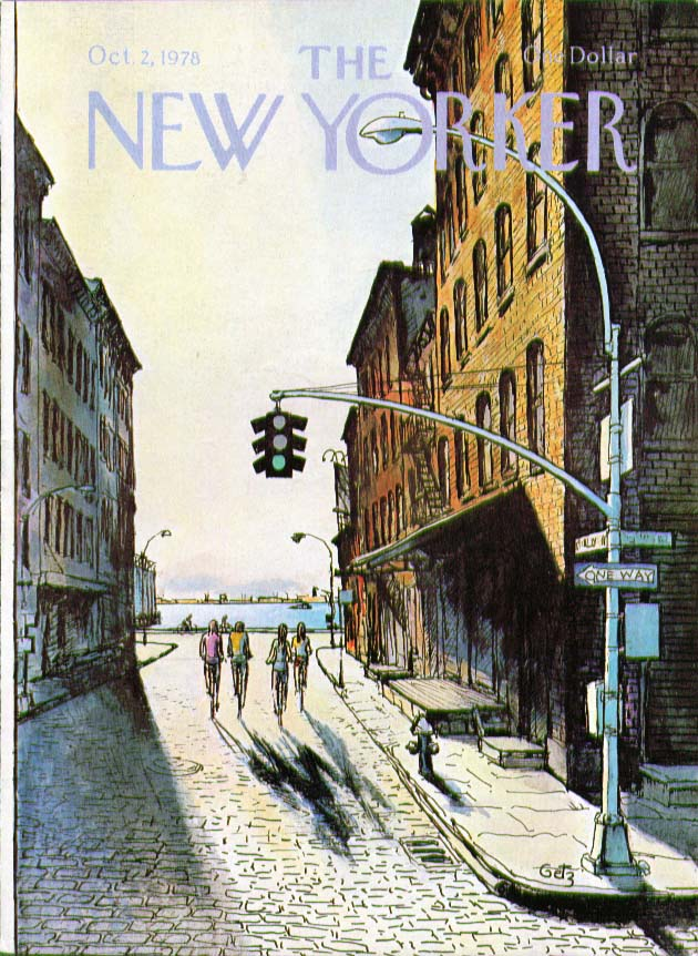 Image for New Yorker cover Getz bicyclists near river 10/2 1978