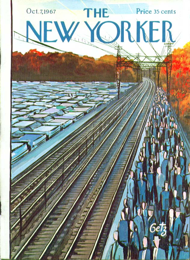 Image for New Yorker cover Getz commuters await train 10/7 1967