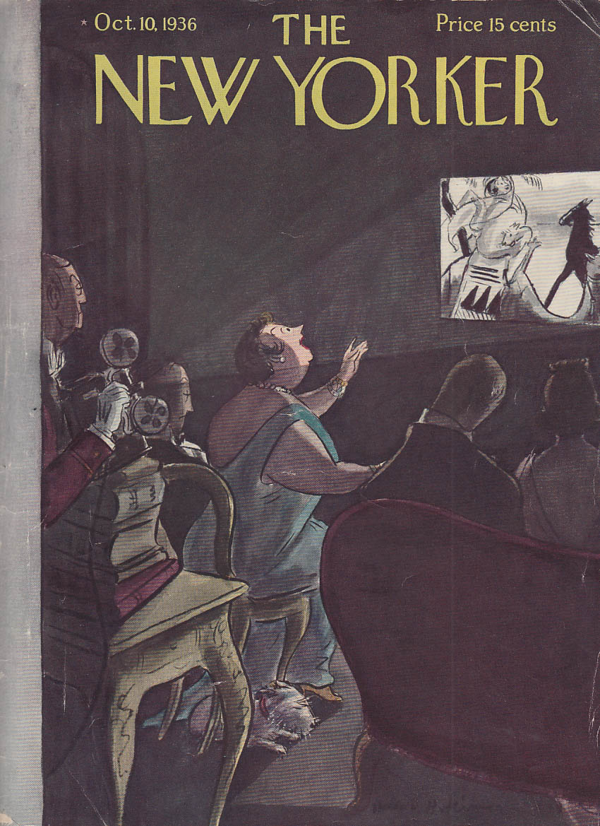 Image for New Yorker cover Hokinson actress excitedly watching film 10/10 1936
