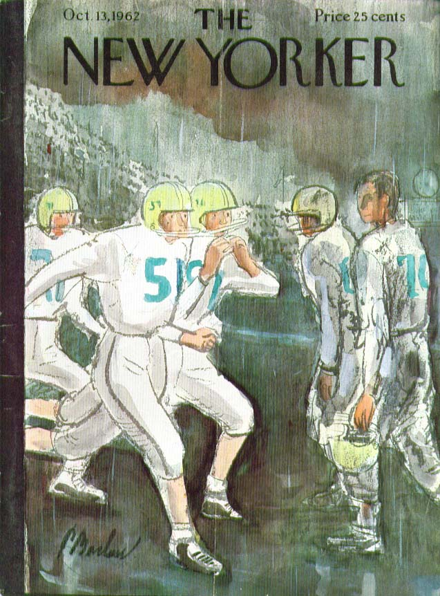 Image for New Yorker cover Barlow football in the rain 10/13 1962