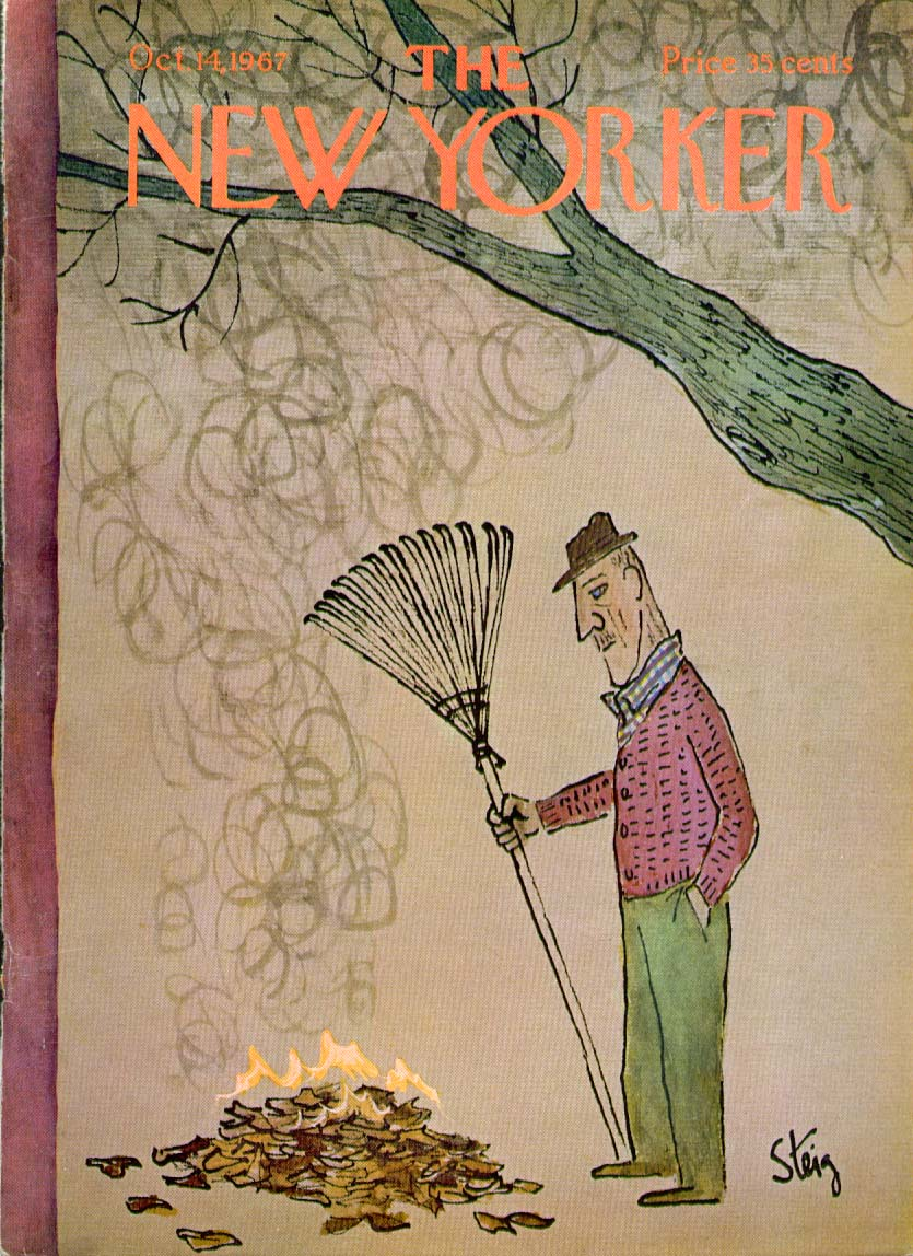 Image for New Yorker cover Steig man burning leaves 10/14 1967
