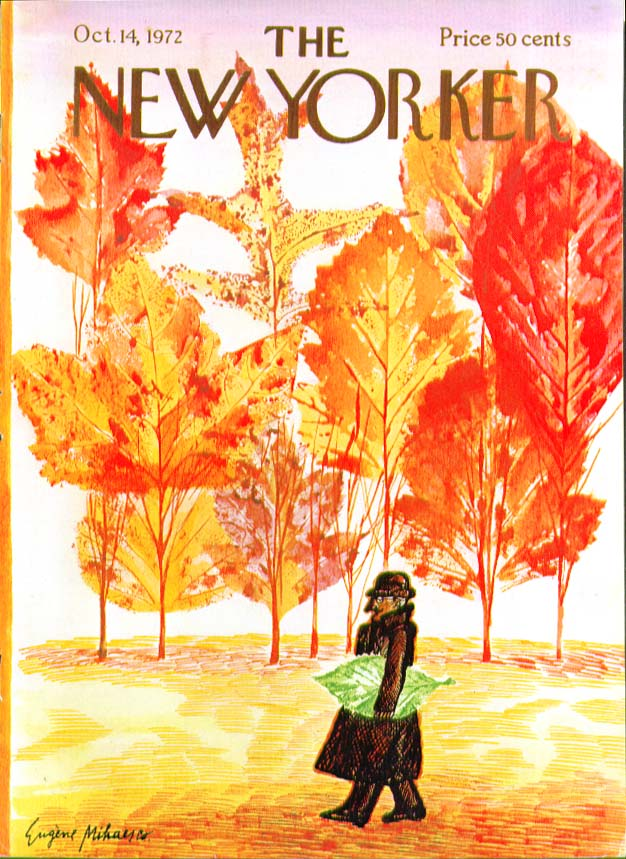 Image for New Yorker cover Mihaesco man carries leaf 10/14 1972