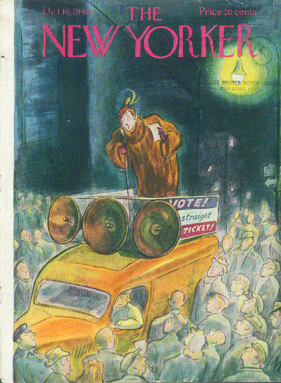Image for New Yorker cover De Miskey campaigning woman 10/16 1948