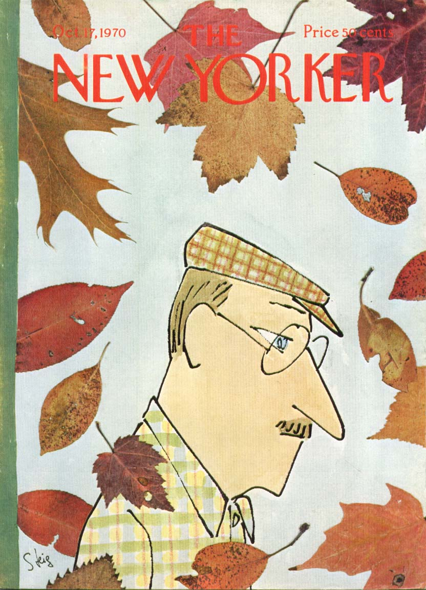Image for New Yorker cover Steig man in autumn leaves 10/17 1970