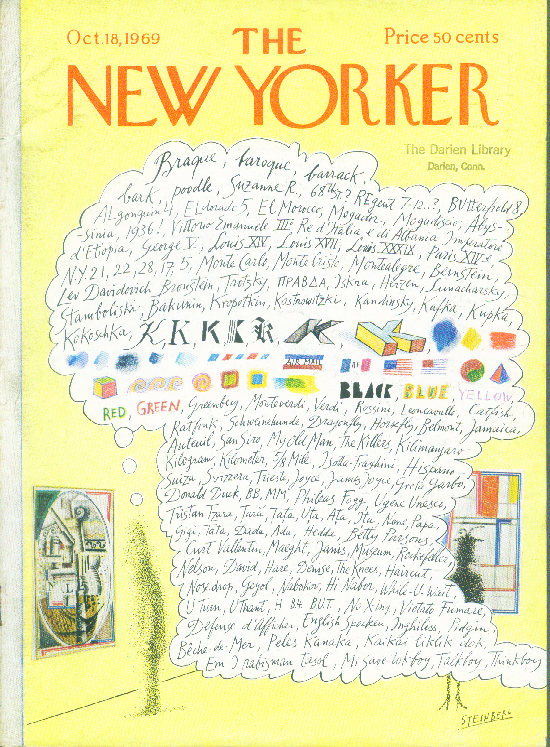 Image for New Yorker cover Steinberg free-association 10/18 1969