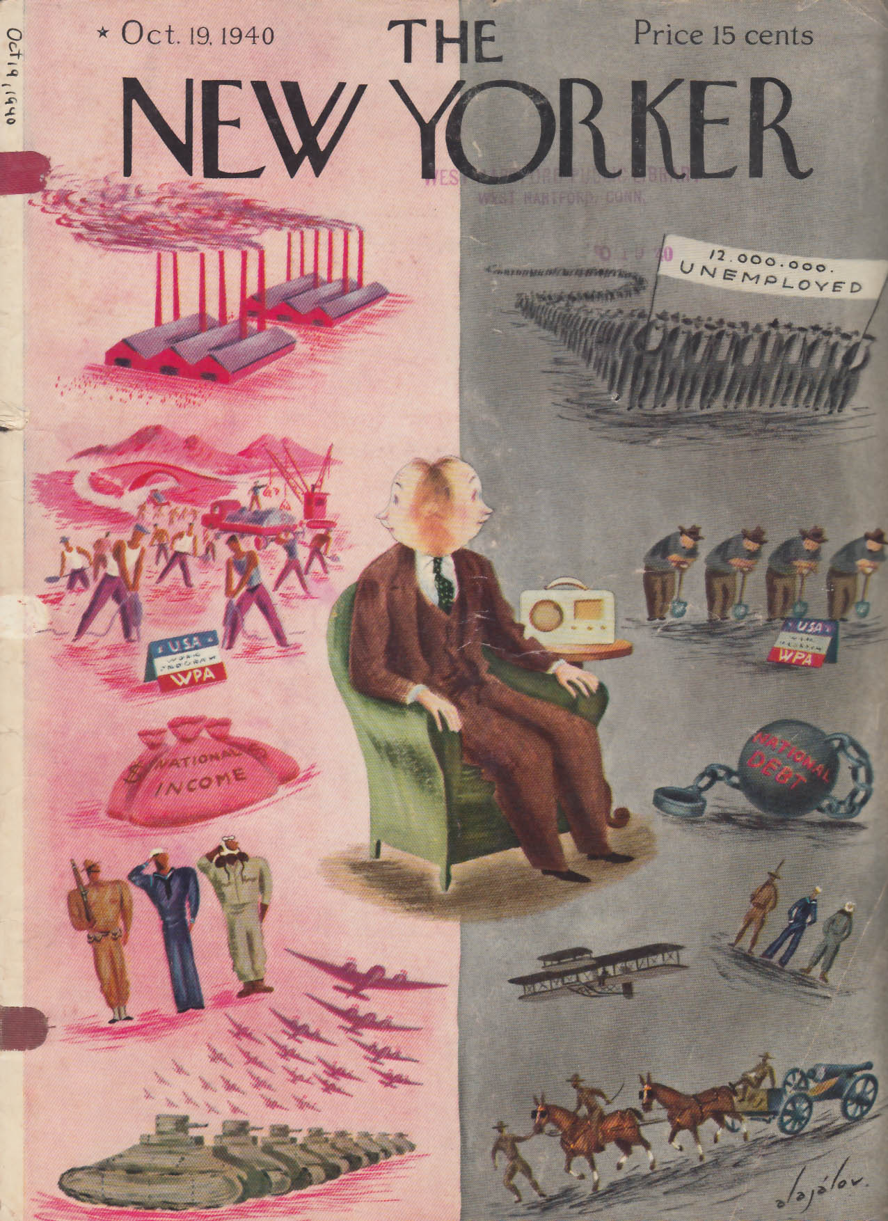 Image for New Yorker cover Alajalov WPA war or peace? 10/19 1940