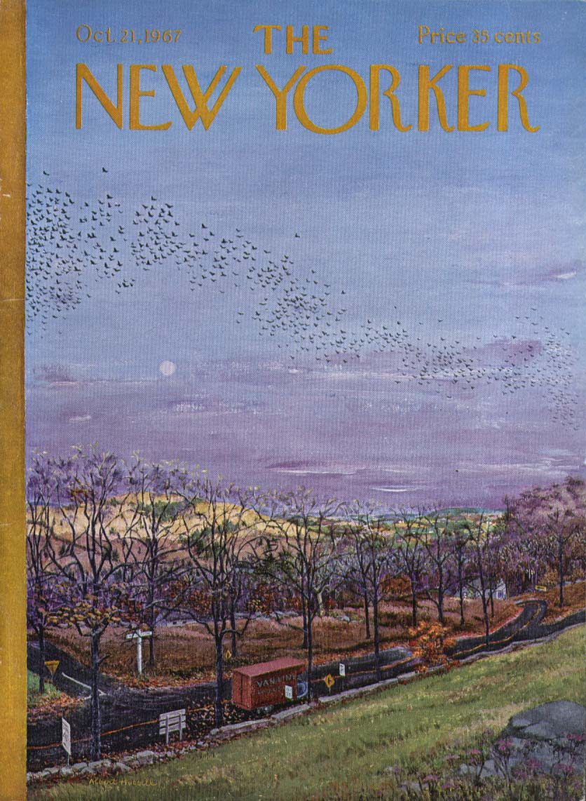Image for New Yorker cover Hubbell birds at sunset 10/21 1967