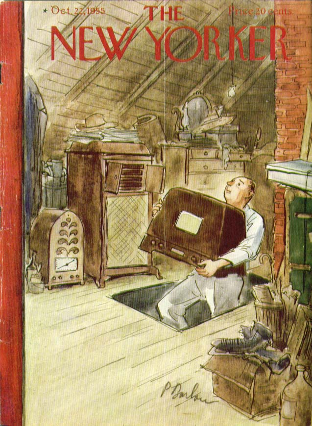 Image for New Yorker cover Barlow radios in attic 10/22 1955