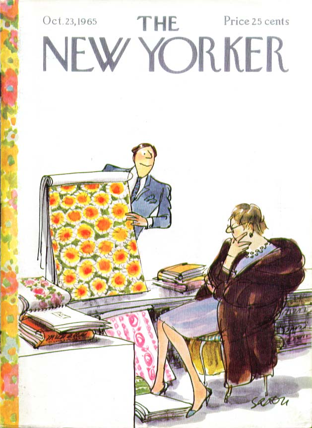Image for New Yorker cover Saxon fabric samples lady 10/23 1965