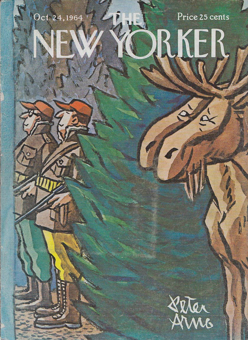 Image for New Yorker cover Arno hunters and smug moose 10/24 1964