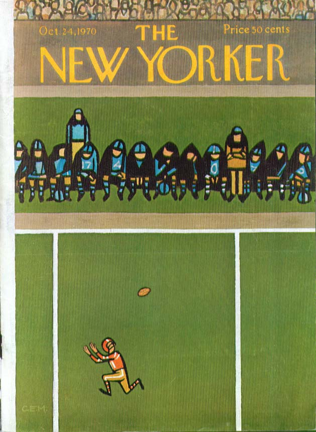 Image for New Yorker cover Martin football catch 10/24 1970